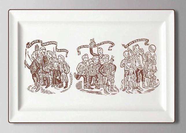 Plateau « Lëtzebuerger Gebräicher » mat Zeechnungen vum Émile Probst Image